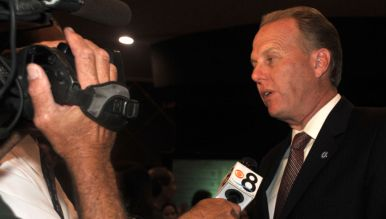 Mayor Kevin Faulconer commented on local races. Photo by Chris Stone