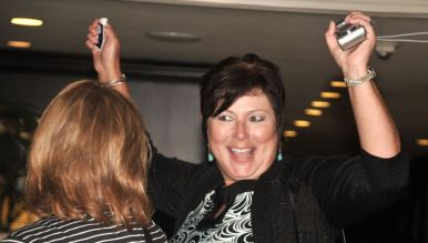 Delores Chavez Harmes, chair of Latino GOP group, reacts to election results at U.S. Grant Hotel. Photo by Chris Stone