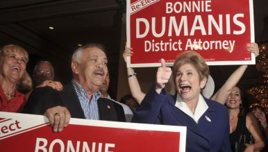 District Attorney Bonnie Dumanis showed emotions at U.S. Grant Hotel. Photo by Chris Stone