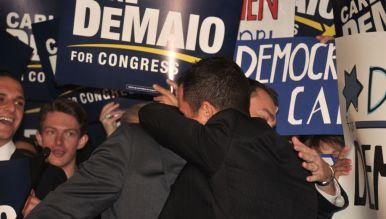 Carl DeMaio hugs is partner, Jonathan Hale, before speech at U.S. Grant Hotel. Photo by Chris Stone