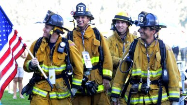 Elfin Forest Firefighters begin their journey toward the stairs. Groups were sent up as the memorable events of 9/11 were recalled.