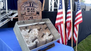 A piece of a girder from one of the World Trade Center towers was on display.