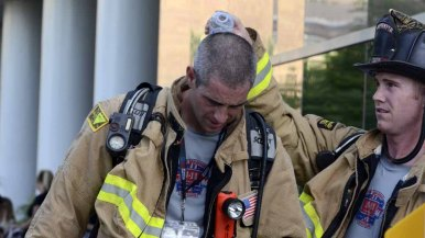 Most firefighters wore their full gear despite the heat and humidity during the 9/11 Memorial Stair Climb Sunday.