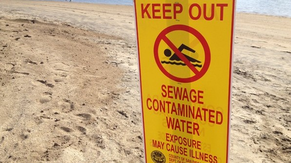 Beach closure, sewage