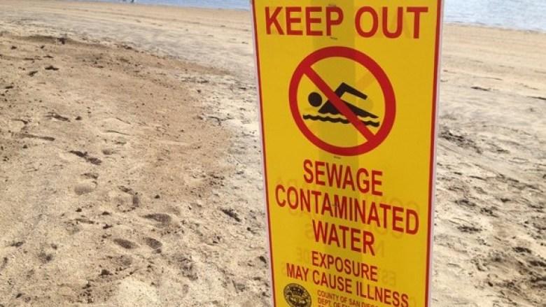 Beach closure, sewage