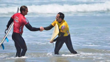 Competitors enjoyed camaraderie during the day at the beach.