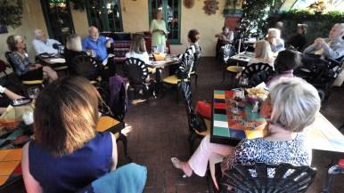 Danuta Pfeiffer speaks to members of the San Diego Press Club at an Old Town restaurant.
