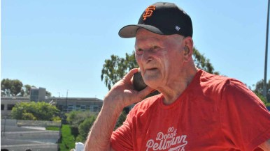Pellmann prepares for his first shot put attempt at a world record for 100-year-olds. Photo by Chris Stone