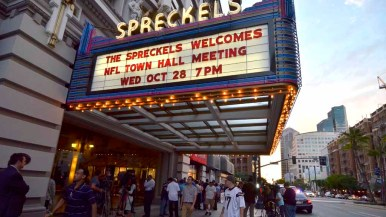 Fans lined up two to three hours ahead of the 7 p.m. NFL forum. Photo by Chris Stone