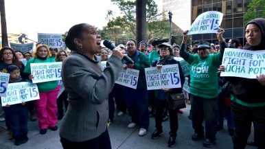 San Diego City Councilwoman Myrtle Cole speaks at a home care worker rally downtown. Photo by Chris Stone