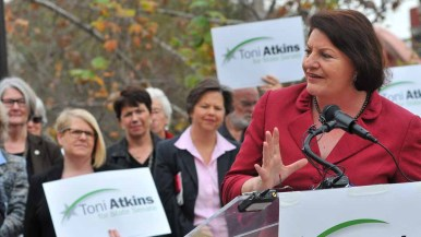 Assembly Speaker Toni Atkins noted numerical decline of women in the Statehouse. Photo by Chris Stone