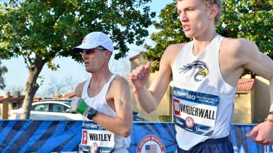 Ian Whatley of Greenville, South Carolina, and Nathan Vanderall of Grand Rapids, Michigan, battle at men's Olympic Trials 50K race walk. Photo by Ken Stone