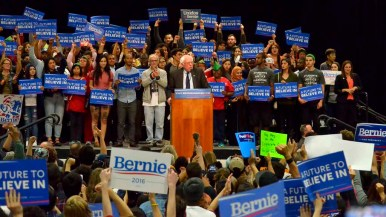 Bernie Sanders is backed by dozens of people chosen by his campaign. Photo by Chris Stone
