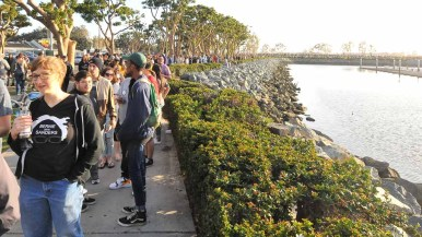 A line stretching several miles led to the Bernie Sanders rally. Photo by Chris Stone