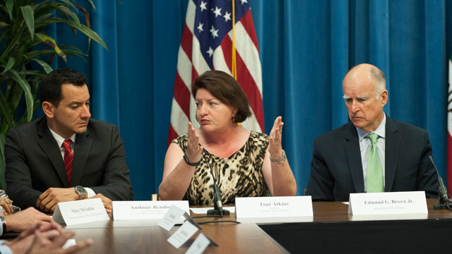 Anthony Rendon, Toni Atkins and Jerry Brown