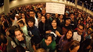 Fisheye lens caught vast expanse of Bernie Sanders crowd. Photo by Ken Stone