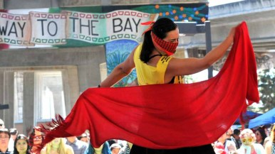 Members of Mujeres en Resistencia danced at Chicano Park Day. Photo by Chris Stone