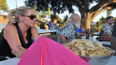 Nacho chips were served at the outdoor viewing party on Marline Avenue. Photo by Ken Stone