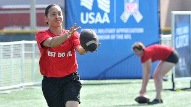 Catching drills were part of competition at NFL Boot Camp at Marine Corps Air Station Miramar. Photo by Chris Stone