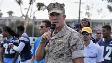 Col. Jason Woodworth, commanding officer of MCAS Miramar, spoke at NFL Boot Camp. Photo by Chris Stone