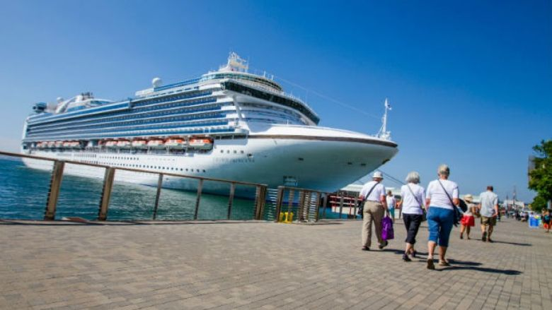 Cruise ship docked at the port