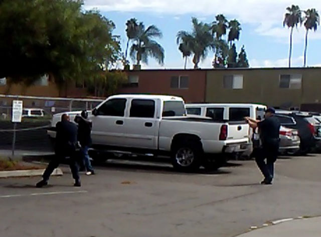 Image from El Cajon Police video showing the police shooting incident