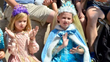 Arianna Ludlum, 9 (right), was among the children in the audience who wore princess gowns. Photo by Chris Stone