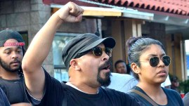 Protesters chant near site of fatal police shooting in El Cajon. Photo by Chris Stone