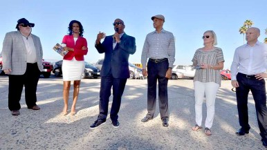 Vincent Mudd introduced leaders of the local organizing group staging the ANOC World Beach Games. From left: Steven Grooms, Feben Yohannes, Mudd, Willie Banks, Sandi Hill and Dave Stow. Photo by Ken Stone