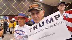 Donald Trump fans showed their colors at Golden Hall. Photo by Chris Stone