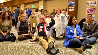 Democrats gathered on the fourth floor of the Westin Hotel had little to point to amid a growing Donald Trump sweep of key states. Photo by Chris Stone