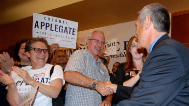 Supporters greet Democratic challenger Doug Applegate, seeking to oust Rep. Darrell Issa from the House. Photo by Ken Stone