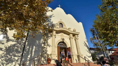 Congregants emerge from Immaculate Conception Catholic Church in Old Town San Diego. Photo by Chris Stone