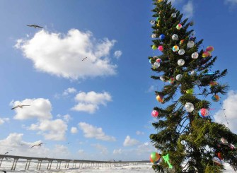Gulls fly by the righted OB tree on Christmas Eve. Photo by Chris Stone
