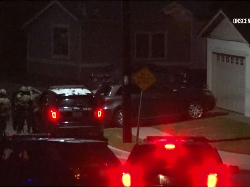 SWAT team officers outside Hayden Abraham Gerson's residence