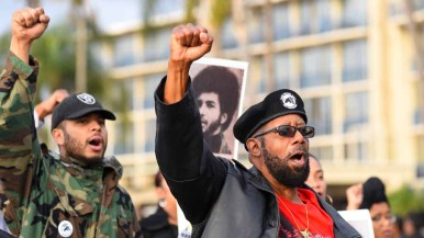 The San Diego chapter of the Black Panther Party marched in the the annual Martin Luther King Parade. Photo by Chris Stone