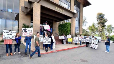 About 20 demonstrators turned out for latest in a series of protests targeting labor leader Mickey Kasparian. Photo by Ken Stone