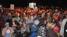 More Hunter critics than supporters packed the Ramona Mainstage concert hall. Photo by Chris Stone