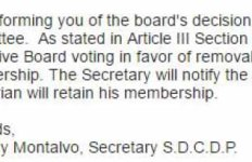 Screen shot of note reputedly from San Diego County Democratic Party Secretary Anthony Montalvo. (PDF)