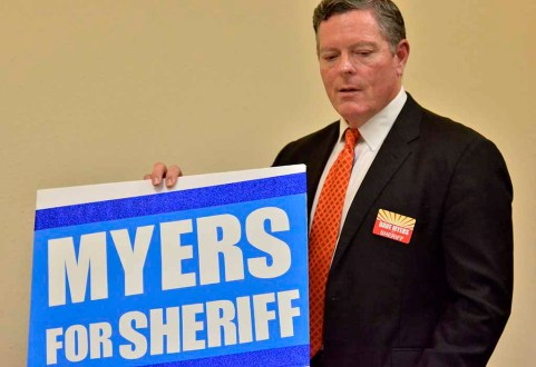 County sheriff candidate Dave Myers introduces himself at Democrats for Equality club meeting. Photo by Ken Stone