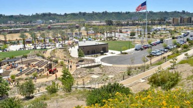 Civita Park features a splash pad, basketball courts, amphitheater, picnic areas and plaza services Mission Valley residents. Photo by Chris Stone