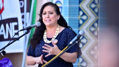 Assemblywoman Lorena Gonzales Fletcher speaks at rally before People's Climate March San Diego. Photo by Ken Stone