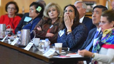 Harmeet Dhillon, one of three California members of the RNC, stifles a yawn at Rules Committee meeting. Photo by Ken Stone