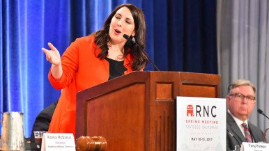 """RNC Chairwoman Ronna McDaniel thanked members and said her predecessor, Reince Priebus, was """"doing a fantastic job at the White House."""" Photo by Ken Stone"""