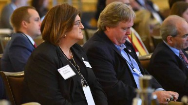 Transgender Republican and RNC guest Gina Roberts listens to speakers at the Spring Meeting's General Session. Photo by Ken Stone