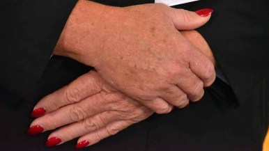 Log Cabin Republican Club president Gina Roberts lives in a blue state but came to the RNC meeting with nails painted red. Photo by Ken Stone