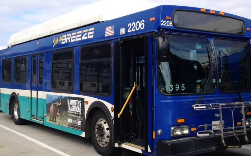 A North County Transit District Breeze bus is parked in the Oceanside First Transit Yard on Oct. 13, 2013. Photo by George L., Flickr.