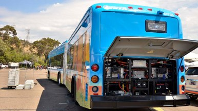 An electric bus was seen at National Electric Vehicle Day