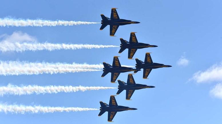 Navy Blue Angel pilots perform at the 2017 Miramar Air Show.