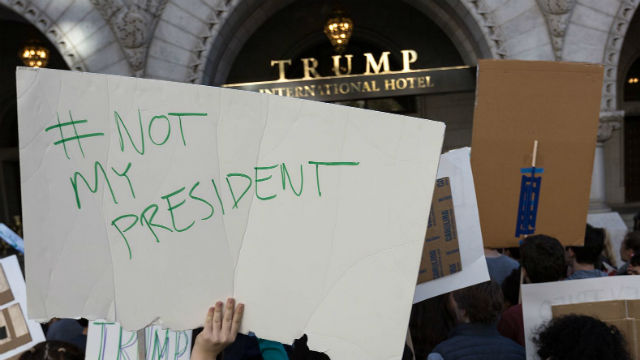 Not my President protest in Washington